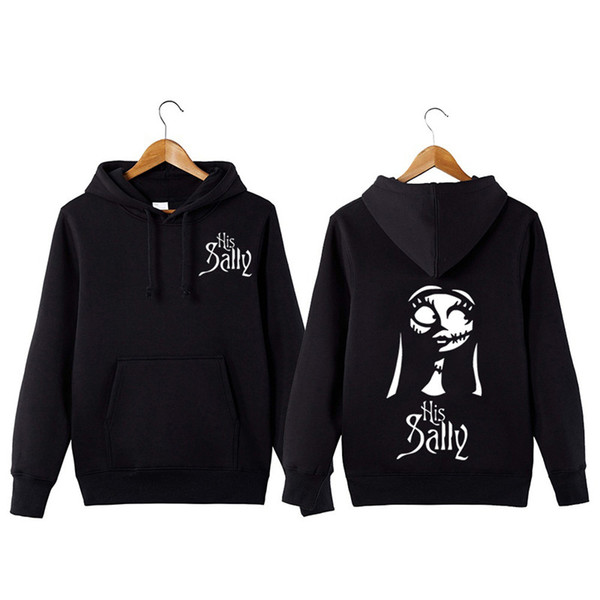 Nightmare Before Christmas Hoodie.2019 Fashion 2018the Nightmare Before Christmas Hoodies Print Jack And Sally Skellington Jackets For Man Women Couple Coats Black Sweatshirts From