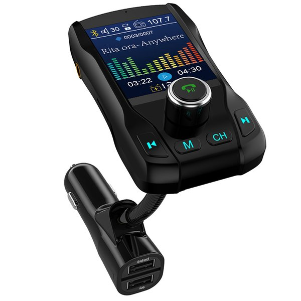 car mp3 player fm transmitter music u disk tf card bluetooth receiver aux audio output color screen 1.8 inch car charger