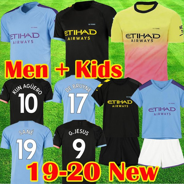 man city 19 20 DE BRUYNE KUN AGUERO maglie da calcio KOMPANY MAHREZ maglia da calcio Manchester BERNARDO SILVA SANE GUNDOGAN City 2019 2020 Kits per bambini