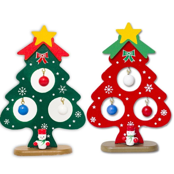1pc Christmas Tree Small Ornament Mini Painted Christmas Tree Decorations Wooden Card New Year's Decorations For Home