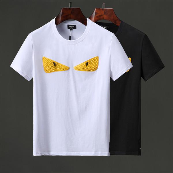 HOT 2019 Marca de moda de verano Camisetas de manga corta para hombre HBT011 Estilo de diseñador de Cool Eyes FF carta algodón Hombre Ropa camiseta Camisetas con cuello en O