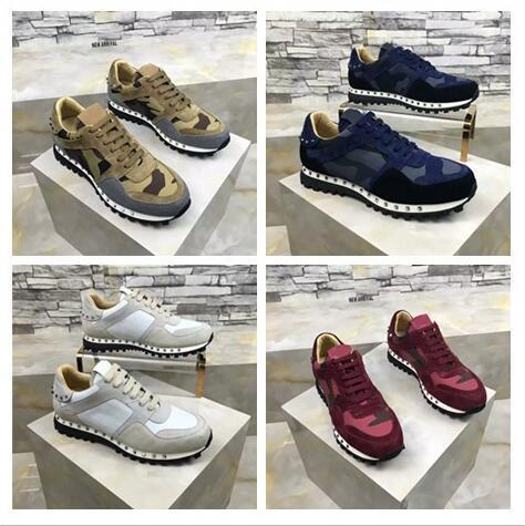 [Оригинал Box] 2017 Luxury Дизайнерские Rock Stud тапки обувь высокого качества Женщины, Мужчины Повседневная обувь Rock Runner тренер партии Свадебная обувь