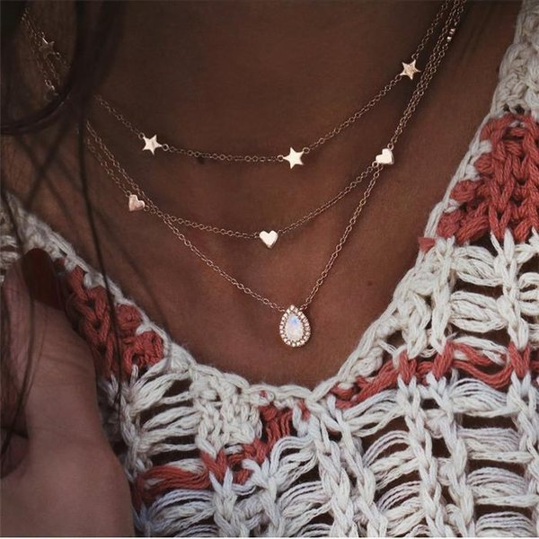 Moon Star Pendant Necklace for Women Multilayer Statement Necklace Charm Chain Necklace Collier bijoux Party Jewelry ALXY07