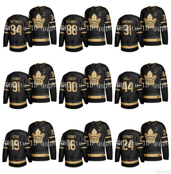 Toronto Maple Leafs Jersey Auston Matthews Golden Edition Siyah ovo 88 William Nylander 91 John Tavares Mitch Marner Morgan Rielly Hokeyi