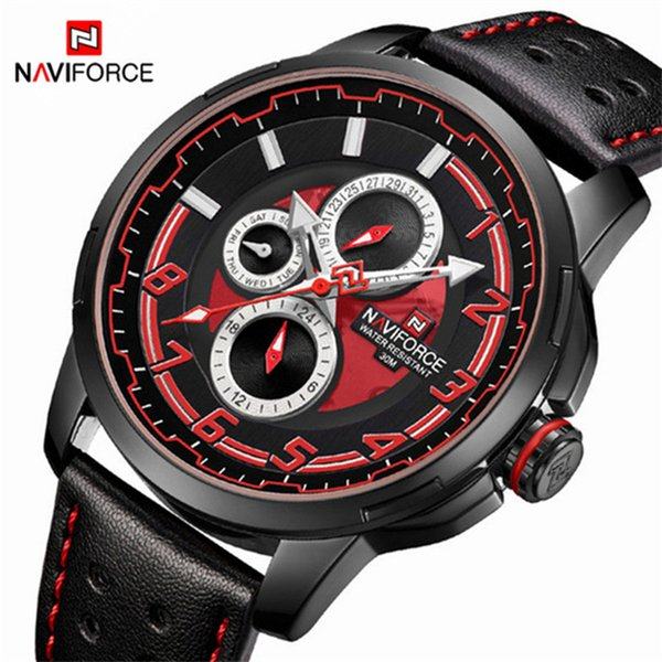 NAVIFORCE Men Watch Date Week Sport Mens Watches Top Casual Leather Quartz Male Clock Relogio Masculino