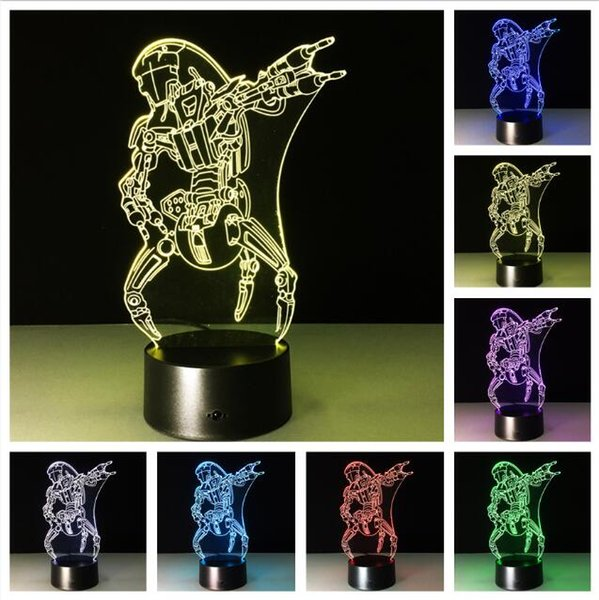 2019 New Action Figure Cool Villain Jedi Robot 3D 7 Color Change RGB LED Night Light Sleeping Touch Table Lamp Children Boys Xmas Toys Gifts