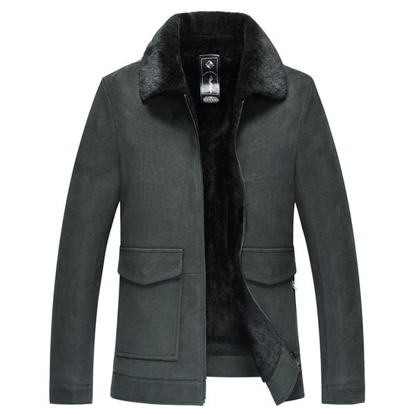 2019 Homens Winter New carneiro Masculino Collar quente da pele dos homens revestimento do revestimento Outwear casual para homens Jaqueta de couro real