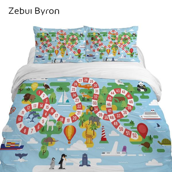 Conjuntos de cama 3D para crianças de luxo, conjunto de cama Queen / King / Twin / Full size, capa de edredão dos desenhos animados para bebê / crianças / meninos, mapa azul