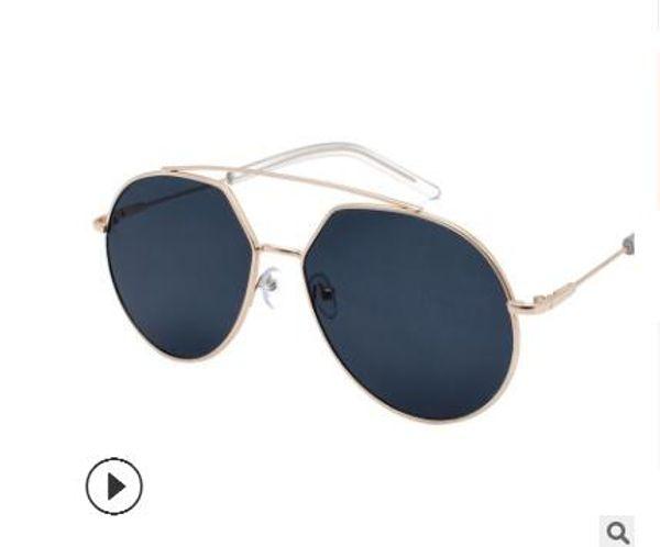 2019 New Web Celebrity Occhiali da sole femminile Star con lo stesso tipo di occhiali da sole Uomo europeo e americano Personality Half-frame Occhiali Tre
