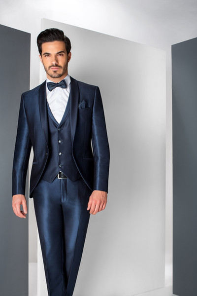 Fancy Wedding Suits Color Navy Smooth Fabric Shawl Lapel Three Pieces (Blazer+Pant+Vest) Bridegroom Tuxedos Good Quality Clothing