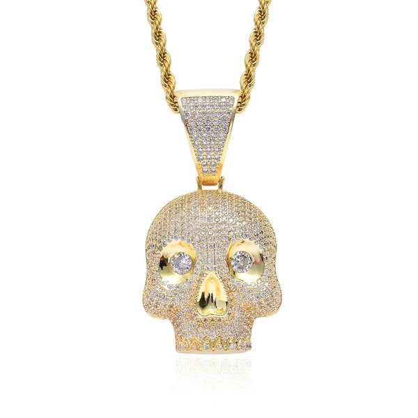2019 Hot Hip Hop Pendant Necklace Men Jewelry Hiphop Personality Skull Gold Long Chain Necklaces Unisex Female Male Gifts