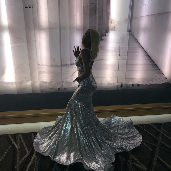 Lantejoulas de prata sereia longo vestido de Noite Africano profundo Decote Em V cabeçada menina preta vestido de festa de formatura robe de soiree