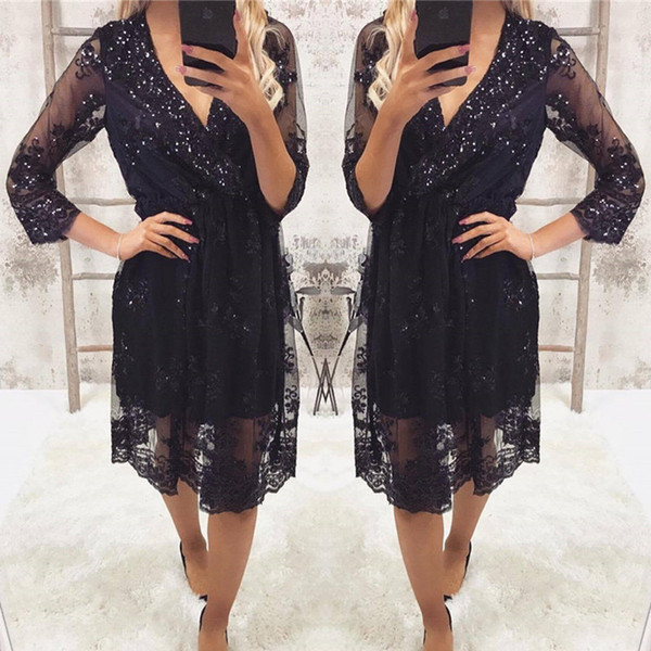 S-XXL Lace Sequins Dress V-Neck Sheer Sleeves Elastic Waist Solid Green Black Party Dress Women Casual Dresses OS040 Free Shipping