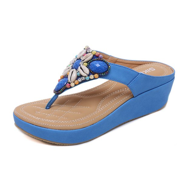 High quality sandals sweet diamond women's slippers sandals wedge shoes