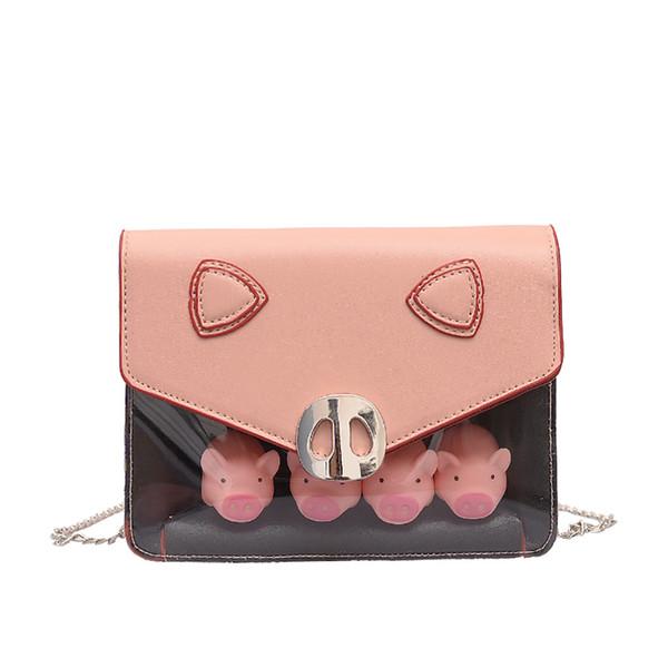 Şeffaf domuz omuz çantaları kadın mini çanta çanta çanta Messenger çanta debriyaj çanta cep telefonu çanta