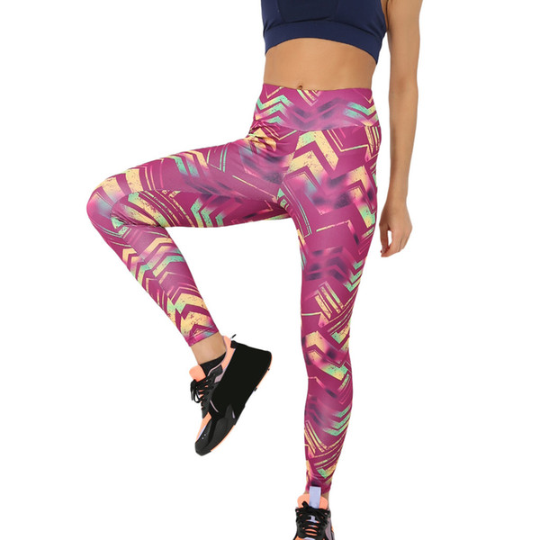 2019 nuevo estampado floral leggings de moda de las mujeres de impresión geométrica ocasional de cintura alta running sports pantalón z416