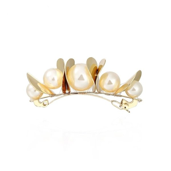 2019 New Women's Pearl-like Adults Golden Simple Fashion Elegant Joker Personality Side Clip one-world Hair Clips&Barrettes
