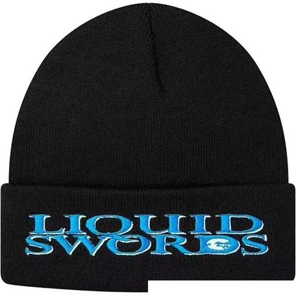 18FW Liquid Swords Beanie Cold Cap Knitted Hat Cap Street Travel Fishing Casual Autumn Winter Hat Outdoor Sport Hats HFTTMZ009