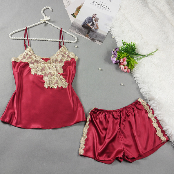 Fashion Pajama Set Sexy Sling Tops +Short Pants Outfits Lace Suit Silk Thin Women Night Wear Clothes Satin