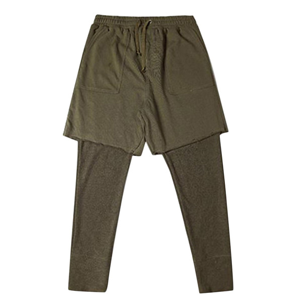 Men Fashion Fitness Fake Two-piece Long Pants Casual Sweatpants Baggy Jogger Hiphop Pants Bottoms