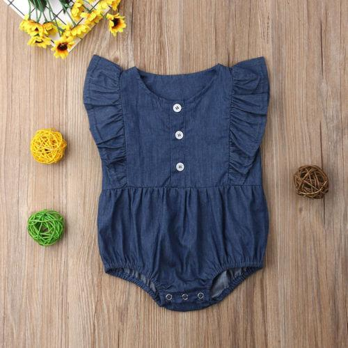 Pudcoco 2019 Newborn Infant Baby Girls Solid Blue Bodysuit Jumpsuit Ruffle Clothes Outfit