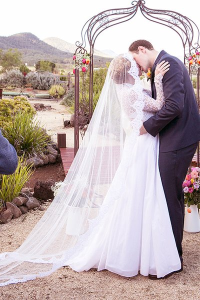Hot Amazing Real Picture Elegant One Layer Lace Applique Edge Cathedral Length Custom White Ivory Red Alloy Comb Wedding Veil