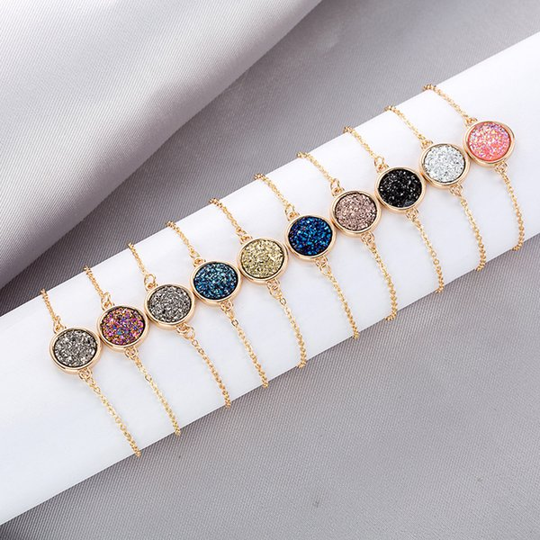 60pcs 10 Color Women Bracelets Round Diamond Jewelry Female Bracelet Crystal Cluster Bracelets Natural Rainstone Stone Hand Wrist Ornaments