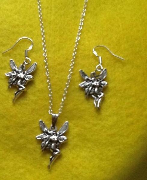 Çiçek Peri Kolye Küpe Seti Tibet Gümüş Kolye Şanslı Dangle Kadınlar Charms Moda Parti Dostluk Hediye Takı Aksesuarları