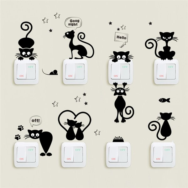 Lovely Cat Light Switch Wall Stickers For Kids Rooms Diy Home Decoration Cartoon Animals Wall Decals Pvc Mural Art