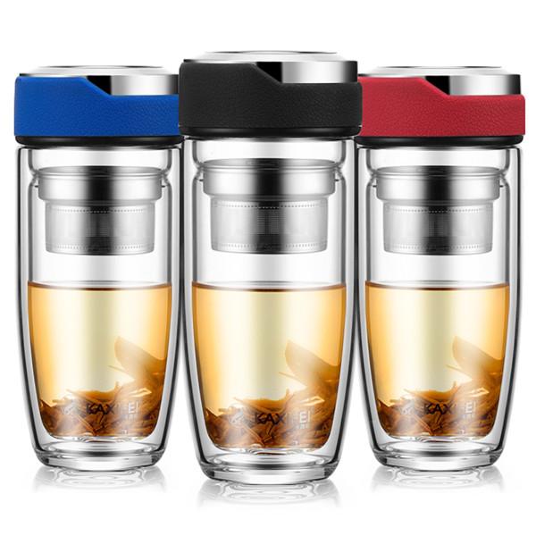 Doppelte Schicht-Glaswasser-Flaschen-Tee-Fruchtblumenflasche transparente Wasser-Flaschen mit Infuser des Edelstahl-304