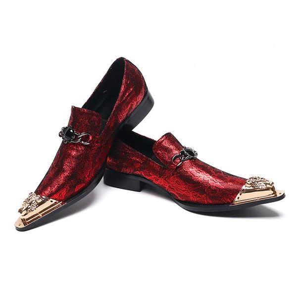 Bling Bling Men's Oxford Shoes with Gold Metal Toe 2019 Fashion Luxurious Glitter Wedding Flowers Dress Shoes Men's Flats Shoe