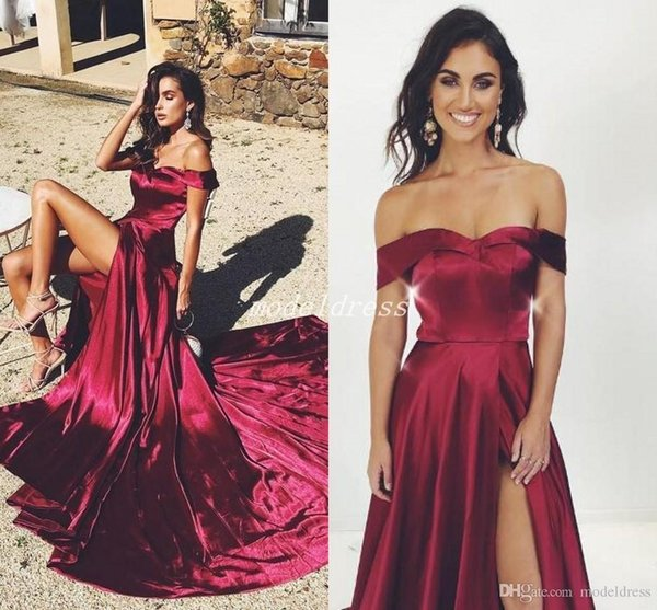 Thigh-High Slits Burgundy Evening Dresses Off Shoulder Criss Cross Straps Sweep Train Long Formal Prom Party Gowns Special Occasion Dress