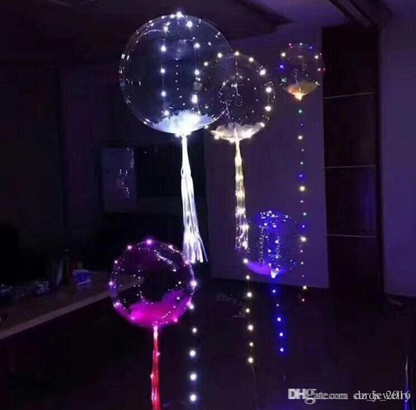 18 inch Clear Foil Helium Bobo Balloons with Copper LED Balloon Bar String Light Creative Balloon for Birthday Wedding Christmas Party