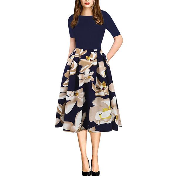 elegant women summer dress 2019 female short sleeve o neck a line casual party skater 50s vintage floral print office lady dress