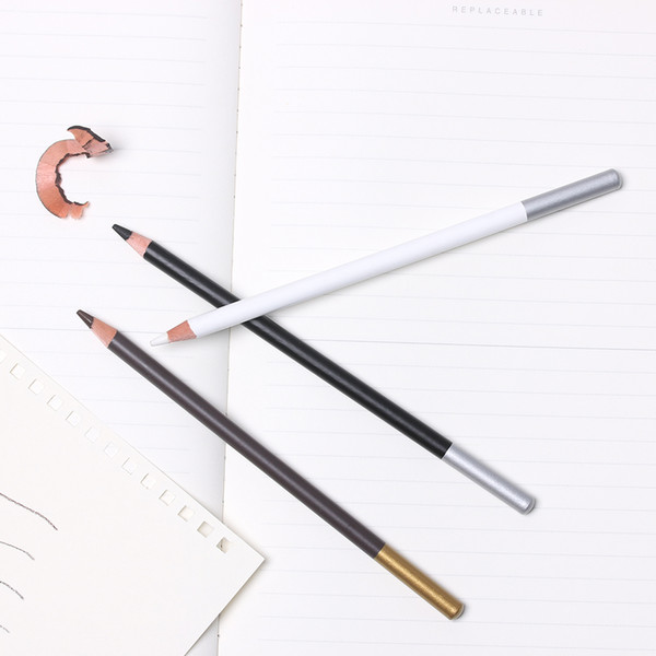 2 UNIDS Profesional Blanco Resalte Liner Sketch Art Dibujo Lápiz Sketching Lápices Herramienta de Pintura de Carbón Art Marker Manga