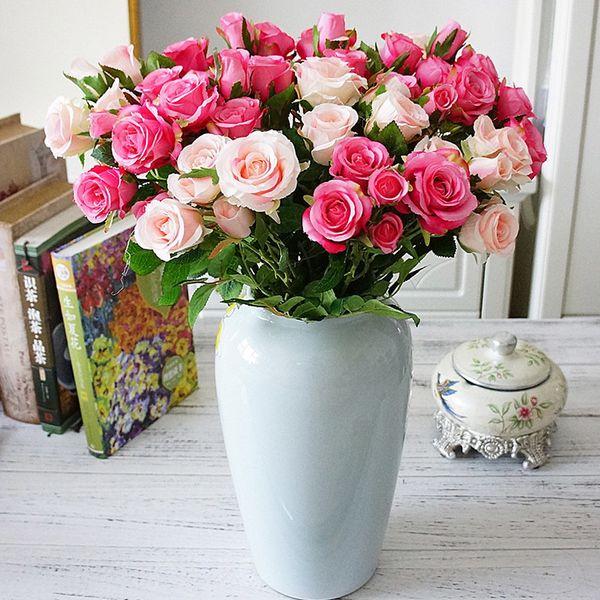Güller Yapay Çiçekler Düğün Duvar Sahte Çiçekler Için Beyaz Ev Dekorasyon Plastik Uzun Şube 5 Kafaları Pembe Gül Ipek Çiçekler