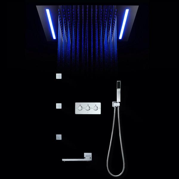 16 couleurs panneau de douche pluie écran de douche télécommande LED lumière massage SPA Jet trois poignées mitigeur robinet évier robinet