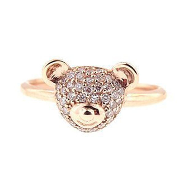 Creative Fashion Charm Cute Bear Rose Gold Ring Simple Individuality Alloy Crystal Ring Fashion Jewelry Gift For Women