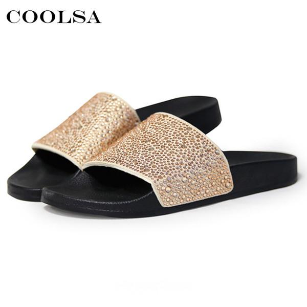 Hot Summer Women Diamond Slippers PU Bling Rhinestone Slides Flat Indoor Flip Flops Female Fashion Crystal Casual Beach