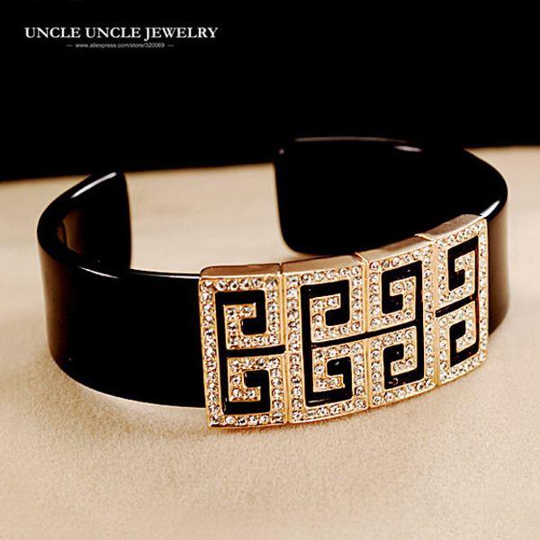 Brand Design Rose Gold Color Retro Rome Design Austrian Rhinestone Square Acrylic Lady Bangle Bracelet Wholesale C19010401
