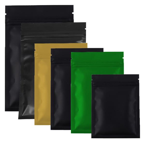 Çeşitli Boyutları 100pcs / lot Siyah Altın Yeşil Renkler Fermuar üst Ambalaj çanta Düz Metalik Mylar gıda çay için Zip kilit Çantası