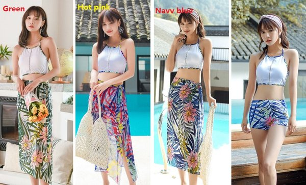 Bikini Beach Resort Hot Spring 2019 Three-piece Swimsuit Skirt-style Bathing Suits Swimwear Printing Fashion Shawl With Chest Pad ZH0003