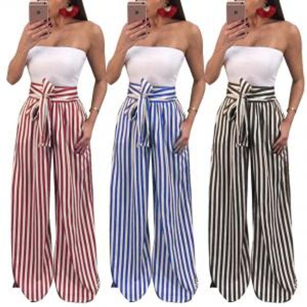 Pantaloni larghi a vita alta Pantaloni stampati donna con tasca a lacci a righe larghe con coulisse Pantalettes LJJV148