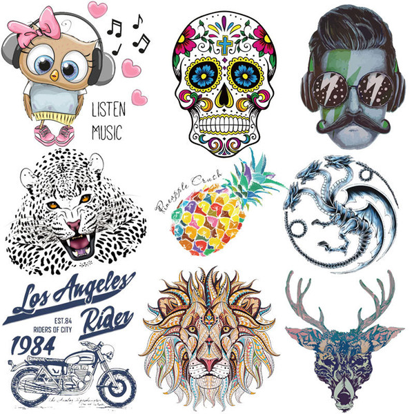 Iron On Music Owl Patches For Kids Clothing Dresses DIY Accessory Thermal Transfer Printer Stickers Applique Heat Press