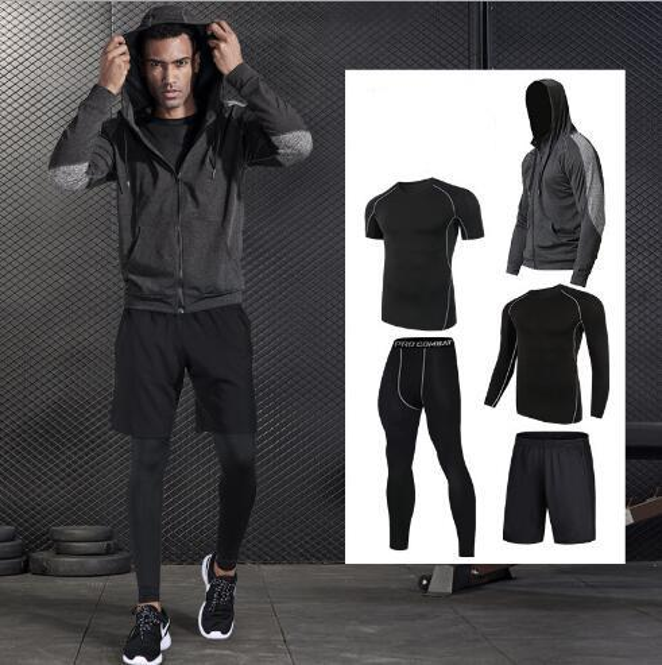 2019 Quality 5-pcs Black Running Set Men Basketball Badminton Sport Suit Outdoor Morning Run Suit Gym Fitness Man's Sportswear