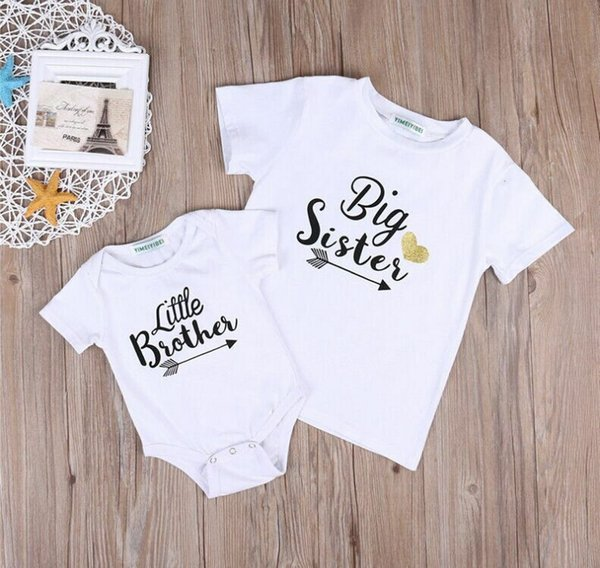 T-Shirt /& Babygrow with Dragons White Big Sister Little Sister Matching Outfit