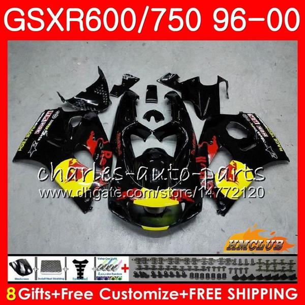 Body For SUZUKI SRAD GSXR-600 GSXR750 1996 1997 1998 1999 2000 1HC26 GSX-R750 Yellow red blk GSXR 750 600 GSXR600 96 97 98 99 00 Fairing kit