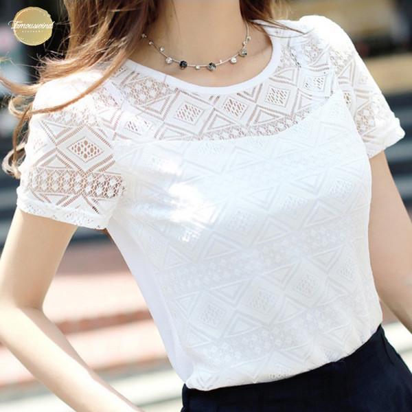 Lace Elegant Blouse Womens Shirt Femme Chiffon Shirts Cap Sleeve 2019 Short Sleeve Ladies Blusas Tops Feminina Hollow Out Blouses