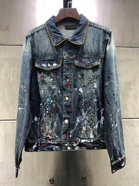 2019 Top Qualität Männer Motorradjacke dünne beiläufige Jeans-Jacken der Männer blaues Hemd Mensjeansjacke Hip Hop-dünne Jeansjacke Größe S-XL