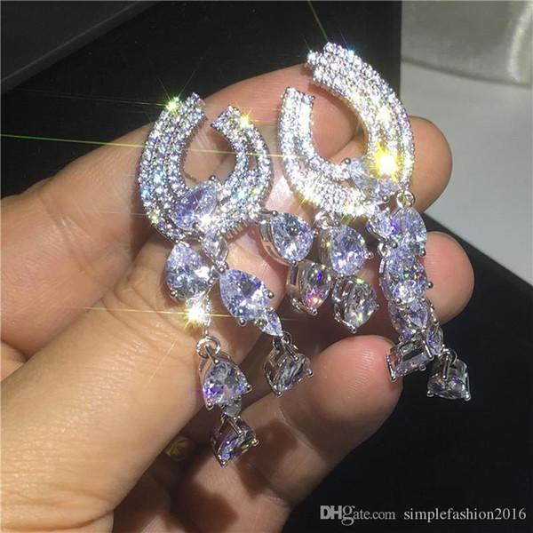 Mode Fashion4U99 Weinlese-Böhmen-Wasser-Tropfen-Ohrring 925 Sterling Silber Diamant Cz Partei Hochzeit baumeln Ohrringe für Frauen Brautschmuck